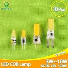 Ampoule LED G4, lumière à intensité réglable, cob 220 G9, 3W, 6W, 10w, COB led, 10 pièces, spot lumineux halogène, DC 12/LED V, 10 pièces