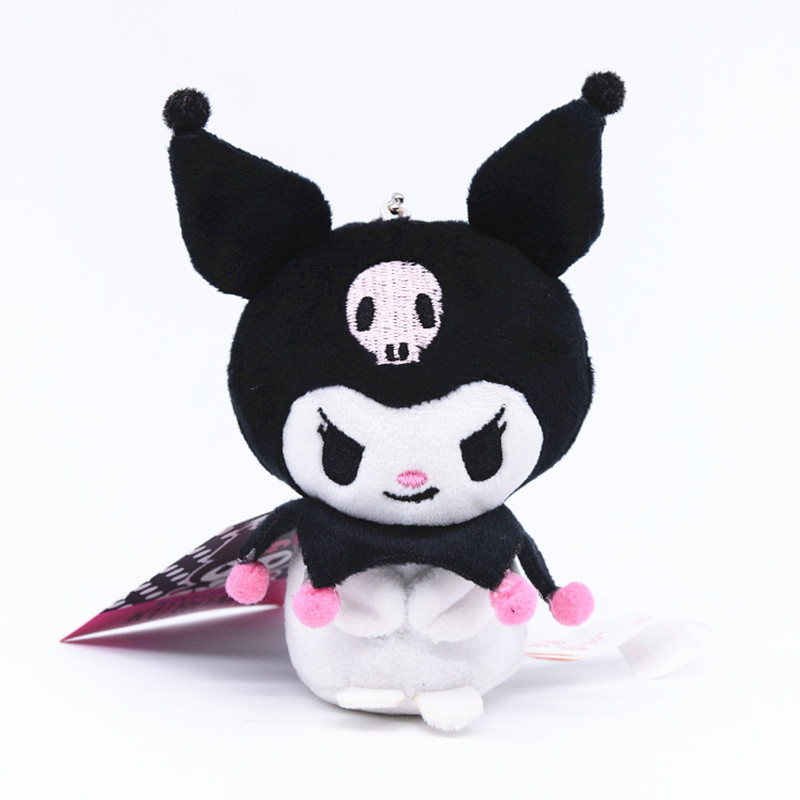 Japan Anime Sanrio Plush Animal Black Devil My Melody Keychains Wallet Haloo Kitty Bird Doll Stuffed Toys Girl Pendant