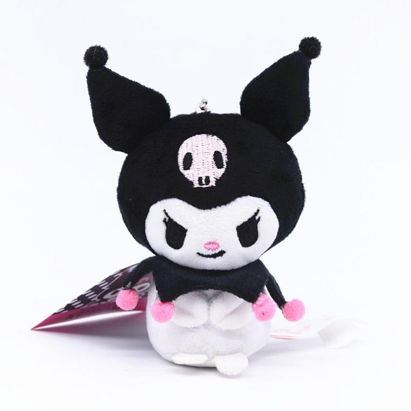 Japan Anime Sanrio Plush Animal Black Devil My Melody Keychains Wallet Haloo Kitty Bird Doll Stuffed Toys Girl Pendant