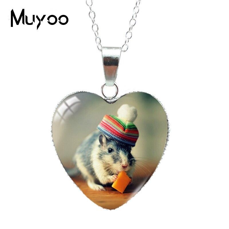 Новое поступление, милое животное, мышь, Забавный хомяк в сумке, подвеска в форме сердца, ожерелье, ювелирные изделия, подарки для детей HZ3