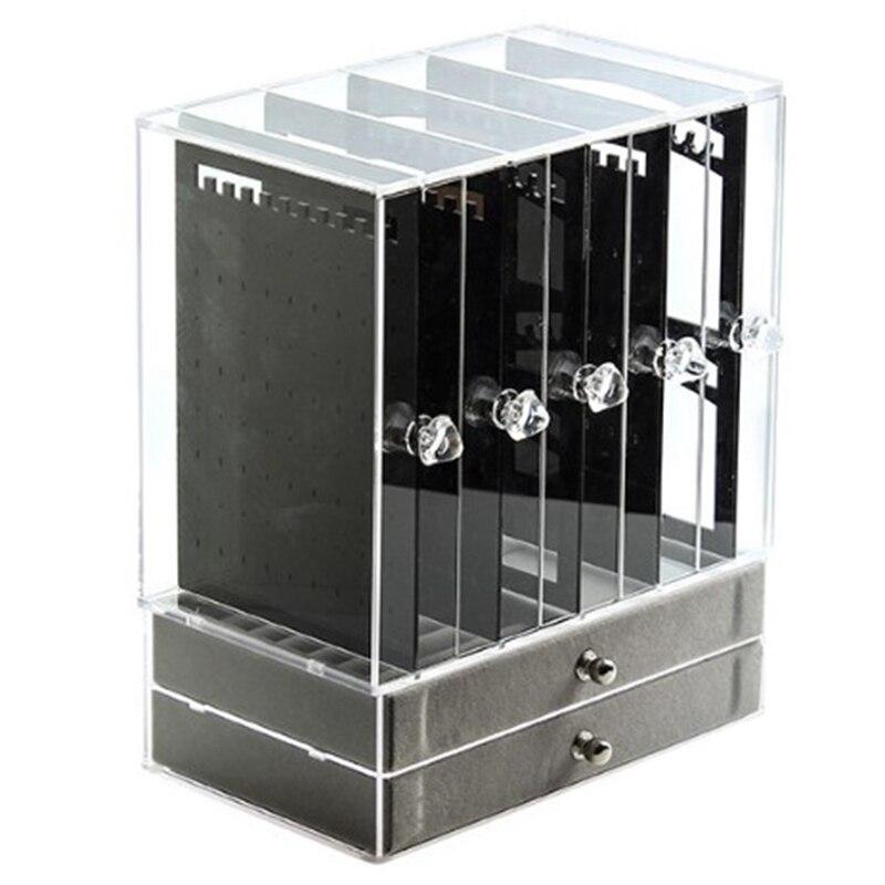 Hho-new 5 portes acrylique boîte organisateur de bijoux pour collier affichage mallette de rangement boucles d'oreilles Bracelet cintre décoration filles cadeau W