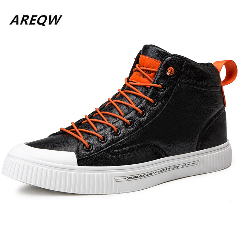 2019 Spring And Autumn High Fashion Trend Men's Casual Shoes Leather Non-slip Breathable Solid Color Flat-bottomed Sneakers