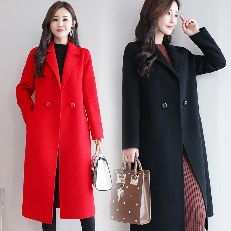 Image 3 - Womens Red Coat  Cashmere Plaid  Korean Wool Winter Coat Female Tops and Blouses  Womens Plus Size Fashions  Female Jacket B108Wool & Blends   -