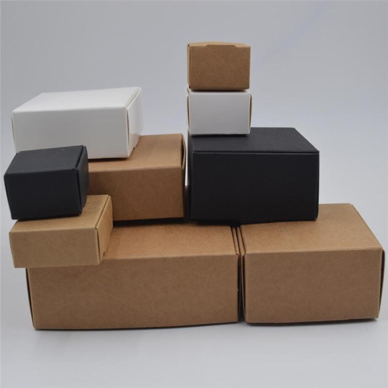 DIY Kraft Gift Box White/Brown/Black Paper Small Soap Box Kraft Cardboard Mini Jewelry Packing Carton Box 12Sizes(China)