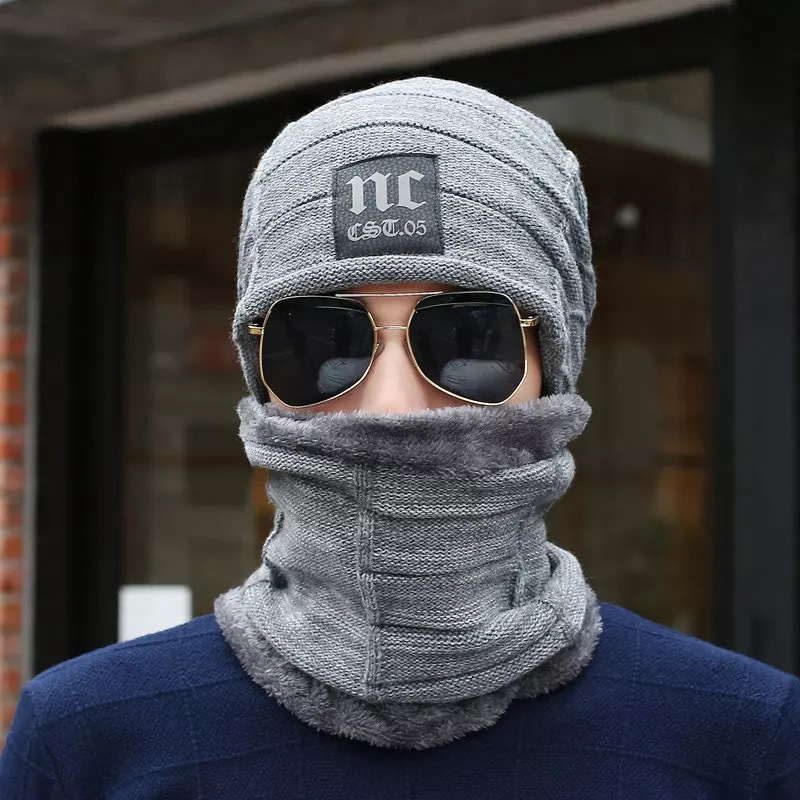 Hot Sell Winter Knitting Hat Scarf Set Men Solid Color Warm Cap Scarves Male Winter Outdoor Beanies Fur Wool Hats Scarf Set in Men 39 s Scarf Sets from Apparel Accessories