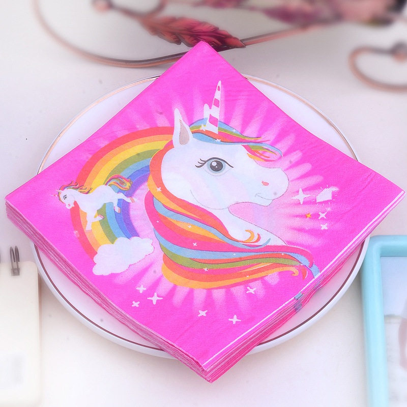 Manufacturers Direct Supply Unicorn Printed Napkin Rose-red Placemat Paper Cups Stained Paper Napkin 20 Banquet Party Paper