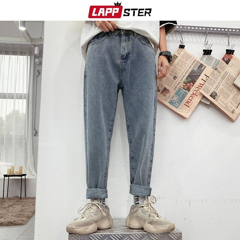 LAPPSTER Men Korean Fashions Straight Jeans Harem Pants 2019 Denim Men Hip Hop Vintage Jeans High Waist Casual Designer Clothes