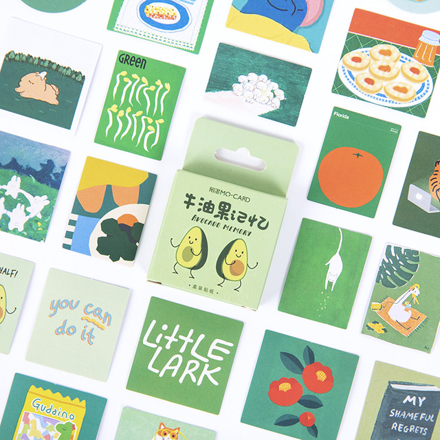 46 Pcs/box Cute Avocado Memory Bullet Journal Decorative Stationery Mini Stickers Set Scrapbooking DIY Diary Album Stick Lable