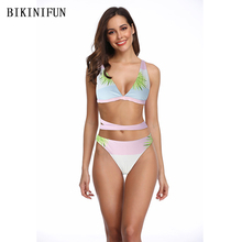 New Sexy Gradient Color Bikini Women Swimsuit Leaves Print Bathing Suit S-L Girl Cross Back Bandage Swimwear Backless Set