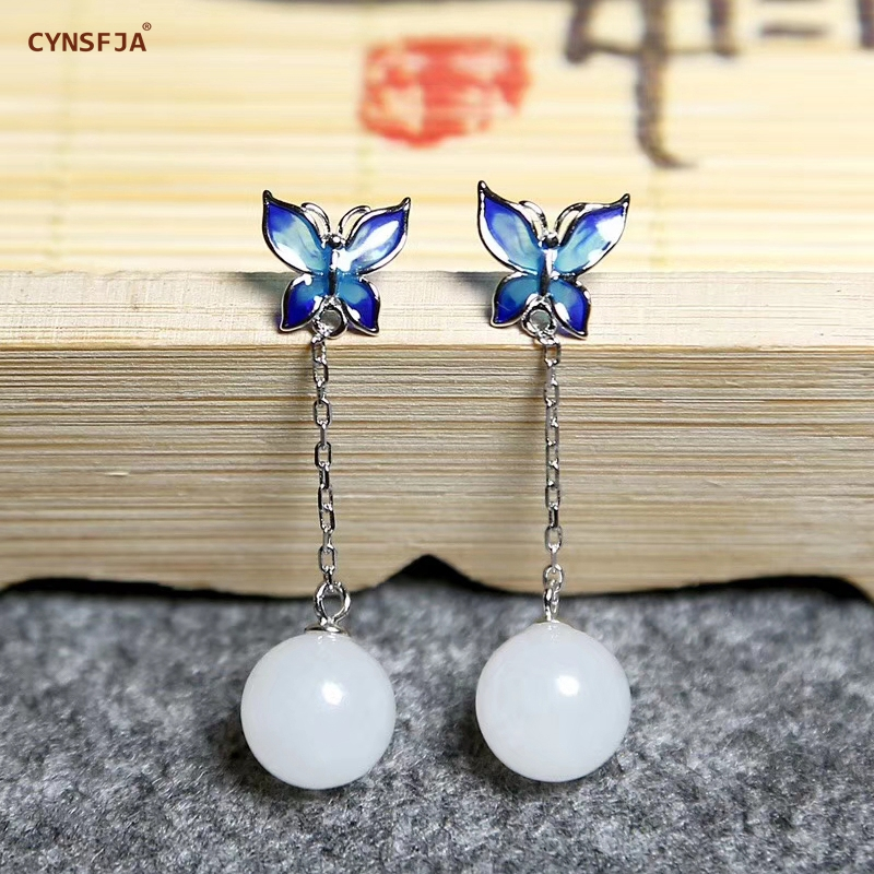 CYNSFJA Real Certified Natural Hetian White Jade 925 Sterling Silver Fine Jewelry Amulets Jade Earrings High Quality Best Gifts