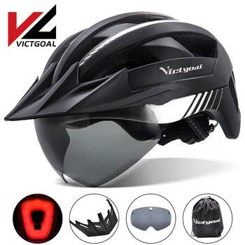 Victgoal capacete de bicicleta mtb led, recarregável por usb, lanterna traseira, capacete para homens, mountain bike, viseira solar 1