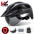 VICTGOAL MTB LED Fahrrad Helm USB Aufladbare Rücklicht Radfahren Helm für Männer Mountain Road Sonnenblende Goggles Bike Helme-in Fahrradhelm aus Sport und Unterhaltung bei