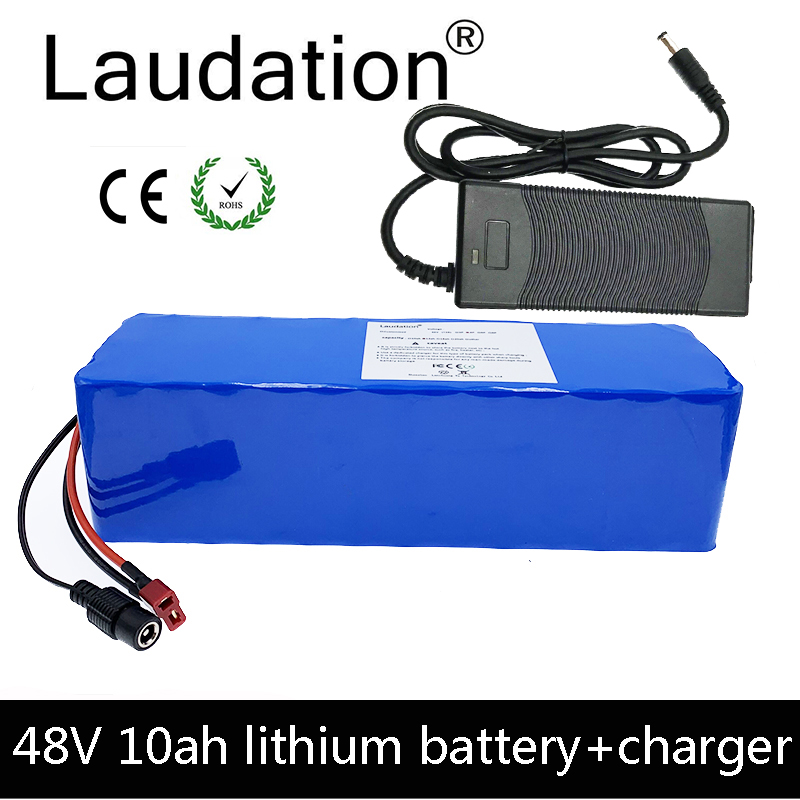 Laudation 48v 10ah electric bike battery 48V battery 10ah <font><b>13S</b></font> 4P With 2A charger built-in <font><b>15A</b></font> <font><b>BMS</b></font> For electric bicycles image