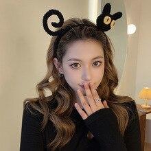 Handmade Crochet Cute Cat Headband for Women Girls Wash Face Influence 2021 New Temperament Kawaii Broken Hair Band Accessories