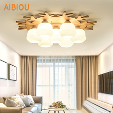 AIBIOU Wooden LED Ceiling Lights Modern Ceiling Lamp For Foyer Glass Surface Mounted Bedroom Lighting Nordic Kitchen Lamp white glass ceiling lamp modern design frosted glass shade light home collection lighting bedroom foyer doorway cloud lights