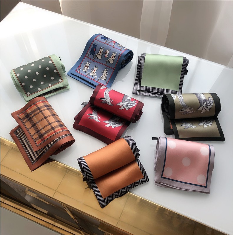 Fashion Polka Dot Silk Scarf DIY New Styles Women Head Neck Small Square Scarf Satin Hair Ties Bands Neckerchief
