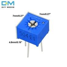 10 pçs 3362p ajustador potenciômetro resistor variável 100r 200r 500r 1k 2k 5k 10k 20k 50k 100k 200k 500k 1m ohm cermet trimpot