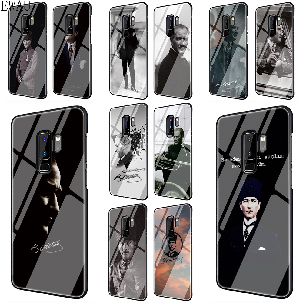 Turkey Mustafa Kemal Ataturk Tempered <font><b>Glass</b></font> phone <font><b>case</b></font> for <font><b>Samsung</b></font> S7 Edge S8 S9 S10 Note 8 9 10 plus A10 20 30 40 50 60 <font><b>70</b></font> image