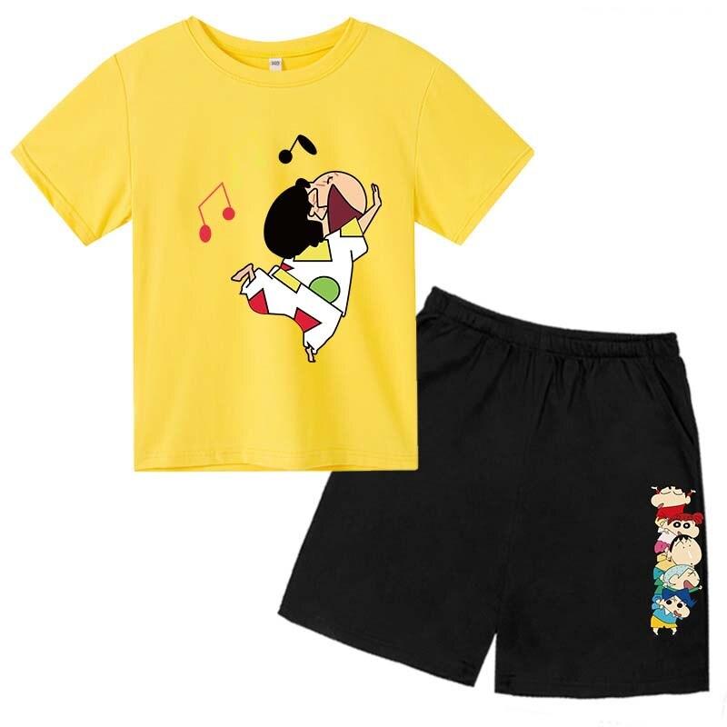 1120.0¥ 50% OFF|Kids Cotton Shorts Set Shin Chan  Cartoon T Shirt Pants 2 Pieces Set for Boys Girls...
