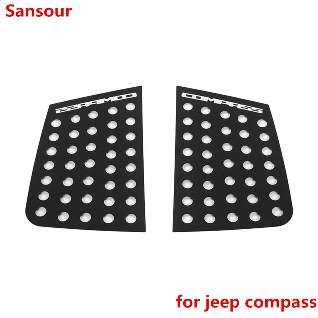 Sansour Car Exterior Rear Window Triangle Glass Decoration Cover Trim Stickers for Jeep Compass 2017 Up Car Accessories Styling 3