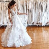 Eeqasn 2020 New A line Lace Wedding Dress V Neck Ruffles Backless Sexy Boho Bridal Dress Gown vestido de noiva Plus Size