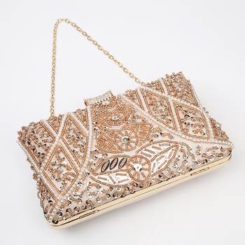 Luxury Apricot Pearl Evening Clutch   5