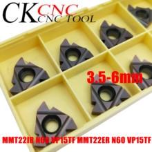 10 Uds MMT22IR N60 VP15TF MMT22ER N60 VP15TF 3,5 6mm corte de hilo inserto de carburo de 22ER/22IR para roscado de la herramienta de torneado/SER/SNL