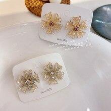 MENGJIQIAO coreano hecho a mano con piedra Natural de concha de perla flor Stud pendientes para las mujeres elegante joyería de fiesta de Oorbellen