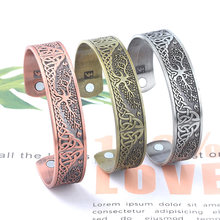 Tree of Life Bracelets Jewelry Viking Wicca Cuff Celtics Knot Bangle Silver Plated Magnetic Bracelets For Men Women(China)