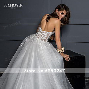 Image 4 - Vestido de Noiva Romantic Appliques Tulle Wedding Dress Sweetheart 2 In 1 Illusion A Line Princess Bride Gown BECHOYER Z124