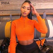 FSDA – t-shirt à manches longues et col roulé pour femme, Streetwear décontracté et Sexy avec fermeture éclair, vert, Orange, noir, néon, automne