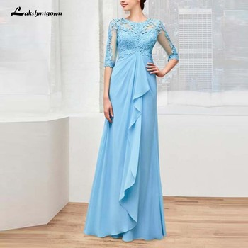 Sky Blue Chiffon Lace O Neck Mother of the Bride Dresses With Three Quarter Sleeve Wedding Guest Gowns Full Length Vestido de M - discount item  33% OFF Wedding Party Dress
