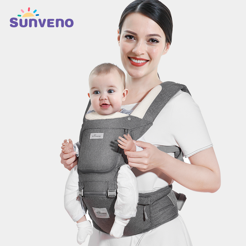 Sunveno Ergonomic Baby Carrier Infant Baby Hipseat Carrier Front Facing Ergonomic Kangaroo Baby Wrap Sling for Baby Travel 0-48M