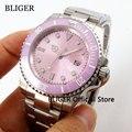 Мужские часы BLIGER B228  роскошные розовые стерильные часы с циферблатом 40 мм  светящийся сапфировый стеклянный керамический ободок MIYOTA  автома...