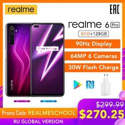 Realme 6 Pro 6pro 8GB RAM 128GB ROM Globale Version Handy Snapdragon 720G 30W Flash ladung 64MP Kamera EU Stecker NFCellphone