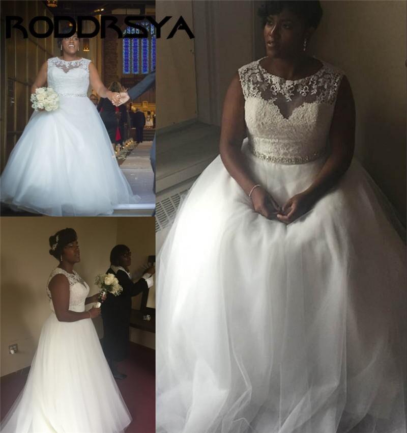 RODDRSYA Charming A-Line Sleeveless Illsion Sheer African Wedding Dress Tulle Cheap Bridal Gowns