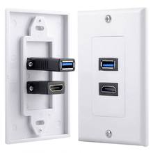 1x 2Port HDMI+USB 3.0 Female Wall Face Plate Panel Outlet Socket Extender White(China)