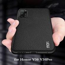 ل Honor V30 حافظة V30Pro حافظة لهاتف هواوي V30 برو MOFi سيليكون مقاوم للصدمات زجاج كابا PU حافظة جلدية