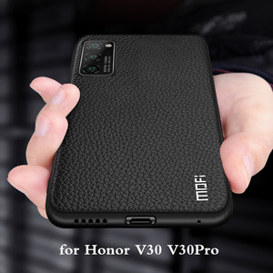 Image 1 - for Honor V30 Case V30Pro Cover for Huawei V30 Pro Case MOFi Silicone Shockproof Glass Capa PU Leather Coque