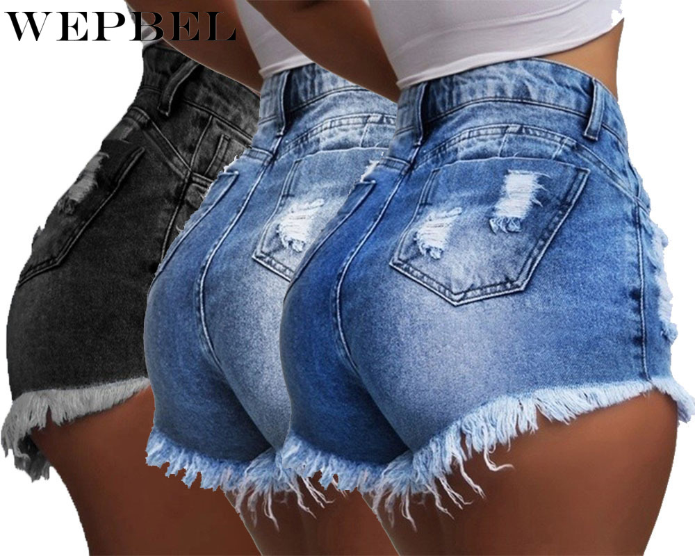 WEPBEL Women Denim Ripped High Waist Shorts Hot Shorts Washed Jeans Summer Short Pants Plus Size