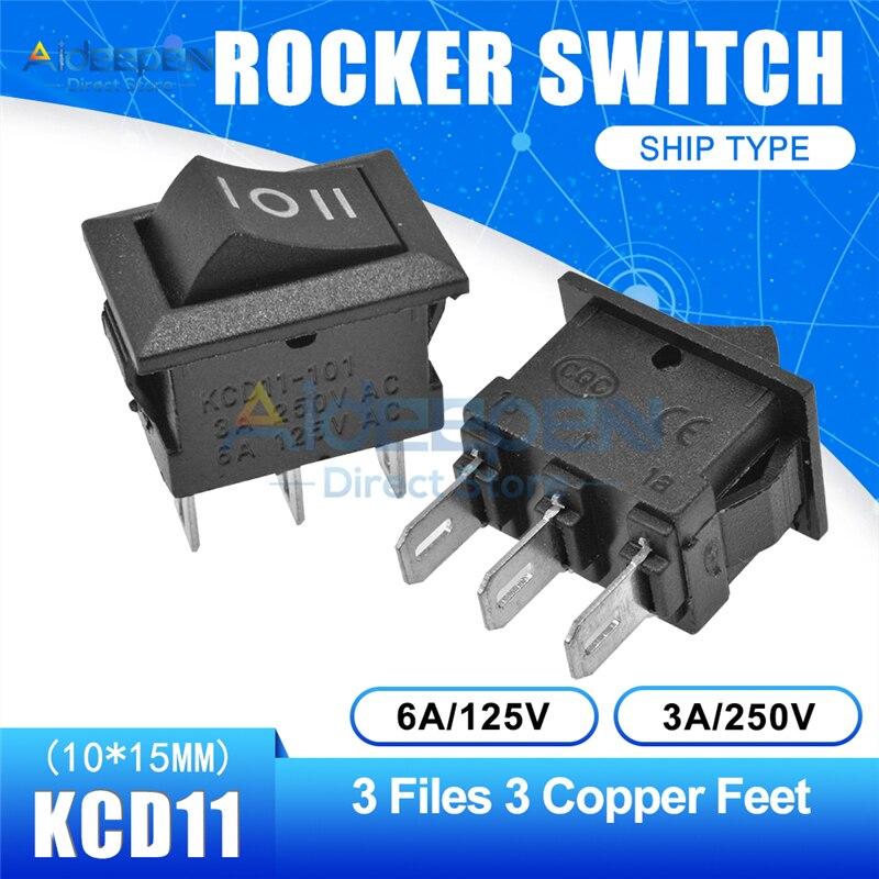 KCD11 10x15 мм кнопочный переключатель оснастка ВКЛ-ВЫКЛ 2 файла 3 файла 2/3 медные ножки лодка кулисный переключатель 10 мм* 15 мм 6A/125 В 3A/250 В - Цвет: Black 3-3P Straight
