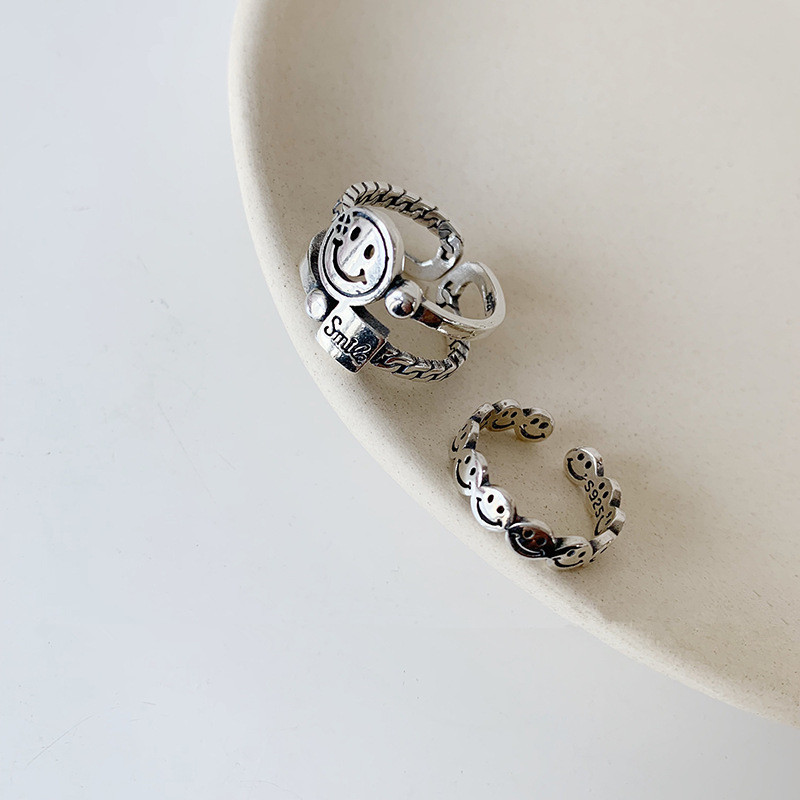 Valentine gift Retro Smiley Face Wide Ring Antique Silver Color Opening Harajuku Rings Smiling Happy Bridal Sets Ring Steampunk Twisted