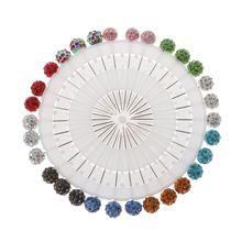 30Pcs/Set Safety Pin Muslim Hijab Scarf Pin Rhinestone Ball Brooch Straight Head Pin