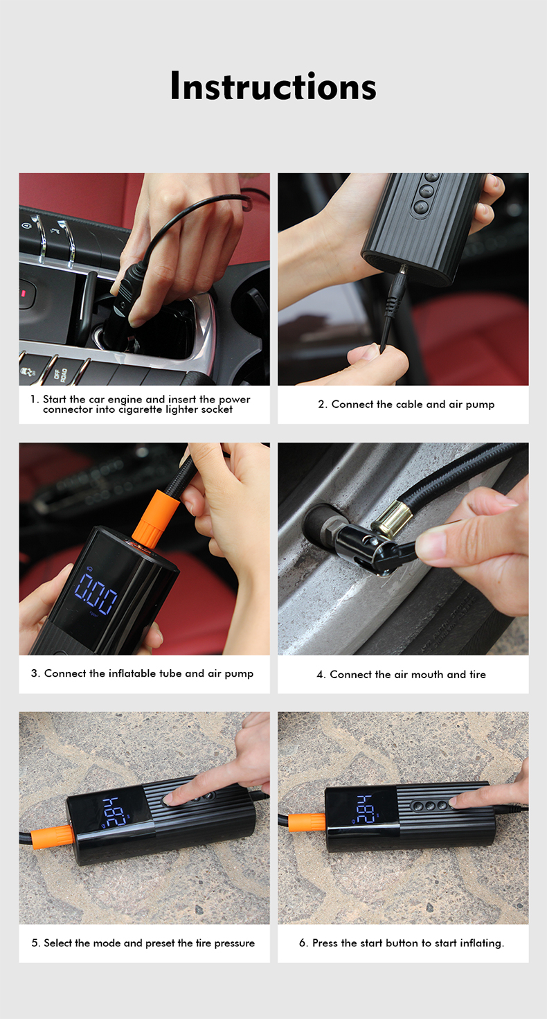 Licheers Tyre Inflator Portable Compressor Digital Car Tyre Pump 12V 50-100Psi Rechargeable air compressor for motorcycle
