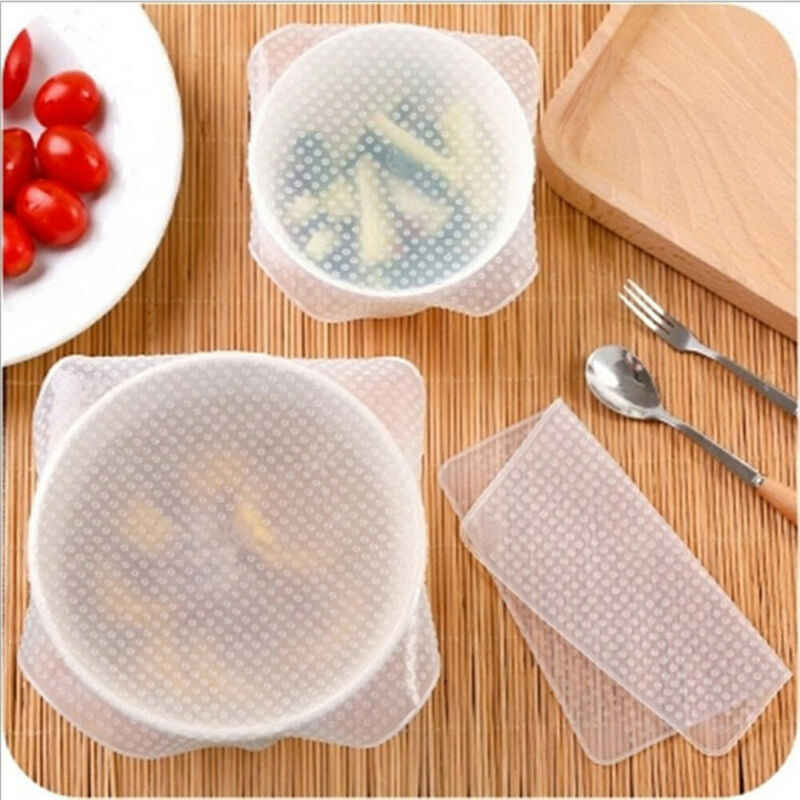 3PCS Vers Voedsel Wrap Plastic Wrap Herbruikbare Voedsel Wraps Seal Vacuum Cover Stretch
