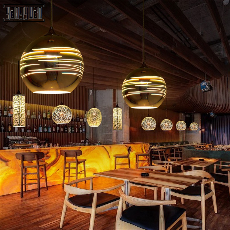Modern Pendant Light 3D Glass Etching Lampshade Pendent Lamp for Restaurant Bar Hotel Dining Room Kitchen Hanging Lights Fixture