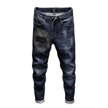 New mens jeans skinny jeans men elastic paint slim long pants  embroidery trousers cotton hip hop Winter Spring  blue grey цена 2017