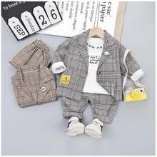 2019 Autumn Baby Boys Clothing Sets Toddler Infant Clothes Suits Plaid Coat T Shirt Pants Children Kids Costume Suit цена в Москве и Питере