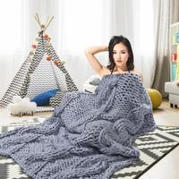 Home Textile Super Warm Soft Blankets Handmade Sofa Blanket Knitted Thick Large Pet Bed Mat Rug For Living Room