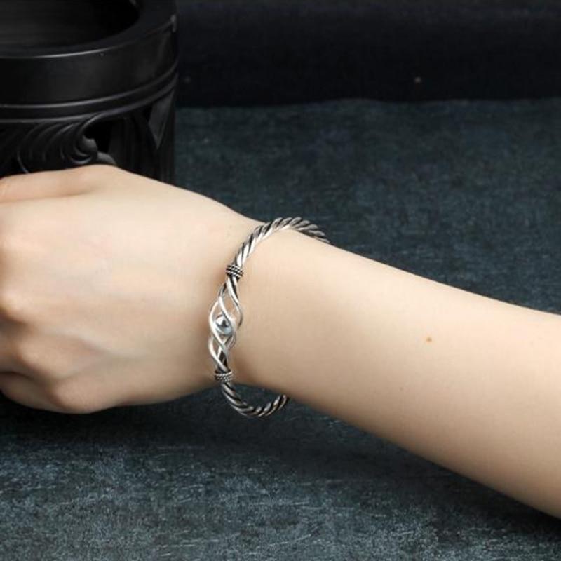 Купить женский винтажный браслет из серебра 100% пробы с плетением